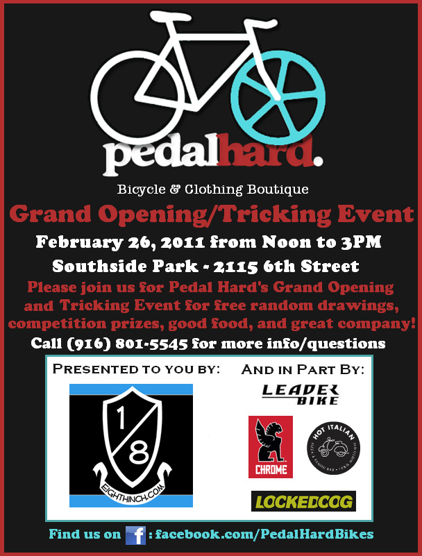 Pedal hard grand opening flyer